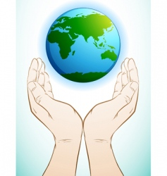 holding earth vector image