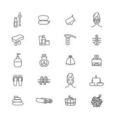 sauna signs black thin line icon set vector image vector image