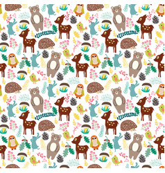 Seamless pattern with cute cartoon forest animals vector