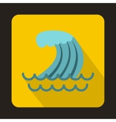 Tsunami wave icon in flat style vector image