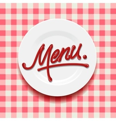 Word Menu - made with red sauce on plate vector image vector image