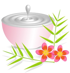 Beauty cream container on white background with vector image