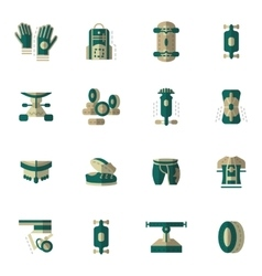 Flat simple icons for longboarding vector image