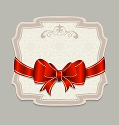 Vintage label with a red bow for design packing vector image vector image