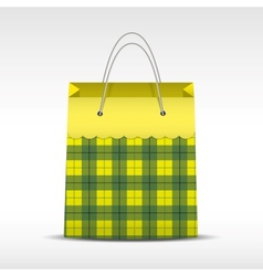 Vintage shopping bag in check texture vector image
