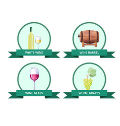 white wine and barrel glass vector image