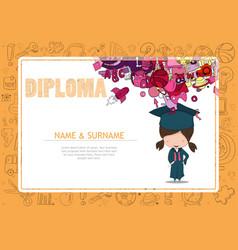 Kids diploma kindergarten template vector image certificate kids diploma kindergarten template vector image yadclub Images