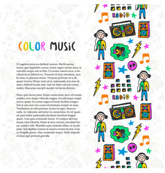 hand drawn music border music sketch colorful vector image