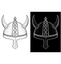 viking helmet with horns hand drawn sketch vector image vector image
