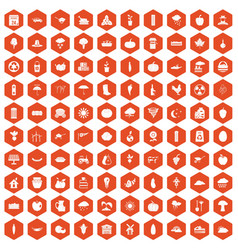 100 pumpkin icons hexagon orange vector