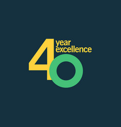 40 year excellence template design vector