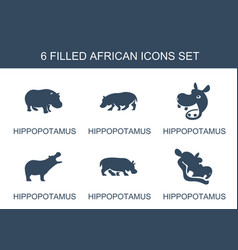 6 african icons vector