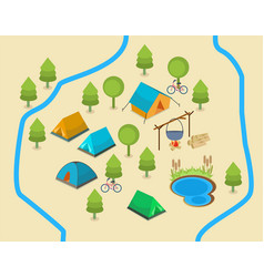 A map of a campsite vector
