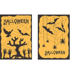 A set of postcards halloween vector