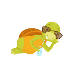 adorable turtle in sunglasses lying funny green vector image