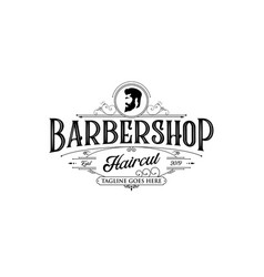 barbershop logo design vintage lettering on white vector image
