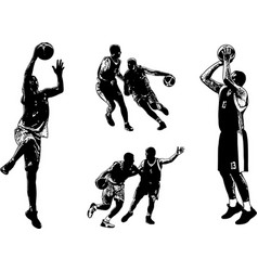 Basketball sketch set vector