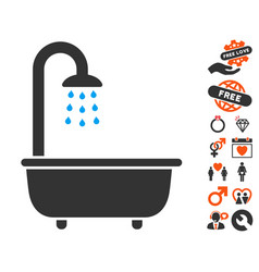 bath shower icon with dating bonus vector image