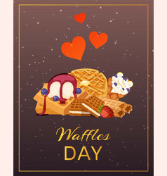 Belgian waffle with ice cream and berries waffle vector
