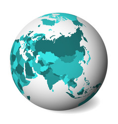 Blank political map asia 3d earth globe vector