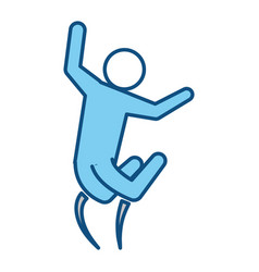 Blue line pictogram man jumping up concept vector