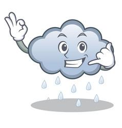 call me rain cloud character cartoon vector image