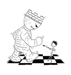 cartoon chess pawn endangered giant root or vector image