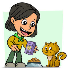 cartoon girl character feeding little cat vector image