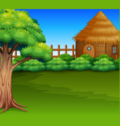 cartoon of wood cabin in a green field vector image