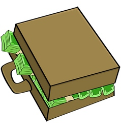 Cash in suitcase vector