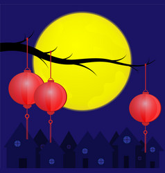 Chinese lanterns with the full moon vector