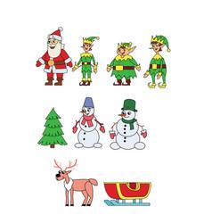 christmas character set vector image