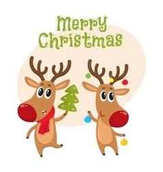 Christmas reindeer in red scarf cartoon vector