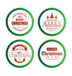 christmas typography with green circles vector image