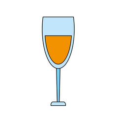 Color image cartoon glass cup with wine vector