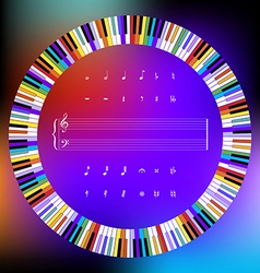 Colored Piano Keys and Music Symbols vector image