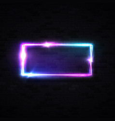 Colorful neon square background laser light tube vector
