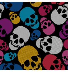 Colorful skulls on black background vector image