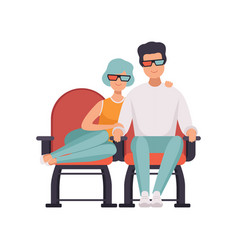 couple in love watching movie in cinema theater in vector image