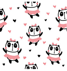 Dancing panda pattern vector