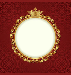 decorative background with golden frame and crown vector image