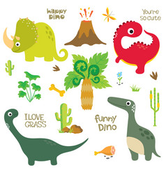 Dinosaur footprint volcano palm tree and other vector