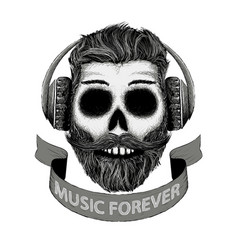 dj music icon in hand drawn style vector image