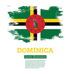 dominica flag with brush strokes independence day vector image