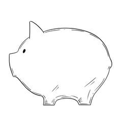drawing piggy bank as finance metaphor vector image
