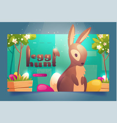 easter egg hunt banner with bunny and flowers vector image