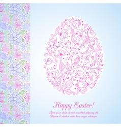 Easter flowers egg background Doodles ornament for vector image