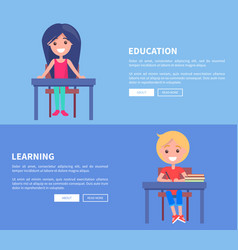 education learning set posters with boy and vector image