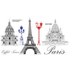 eiffel tower national residence of the invalids vector image