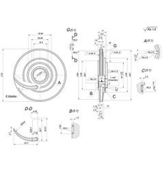 Engineering sketch wheel with blades vector